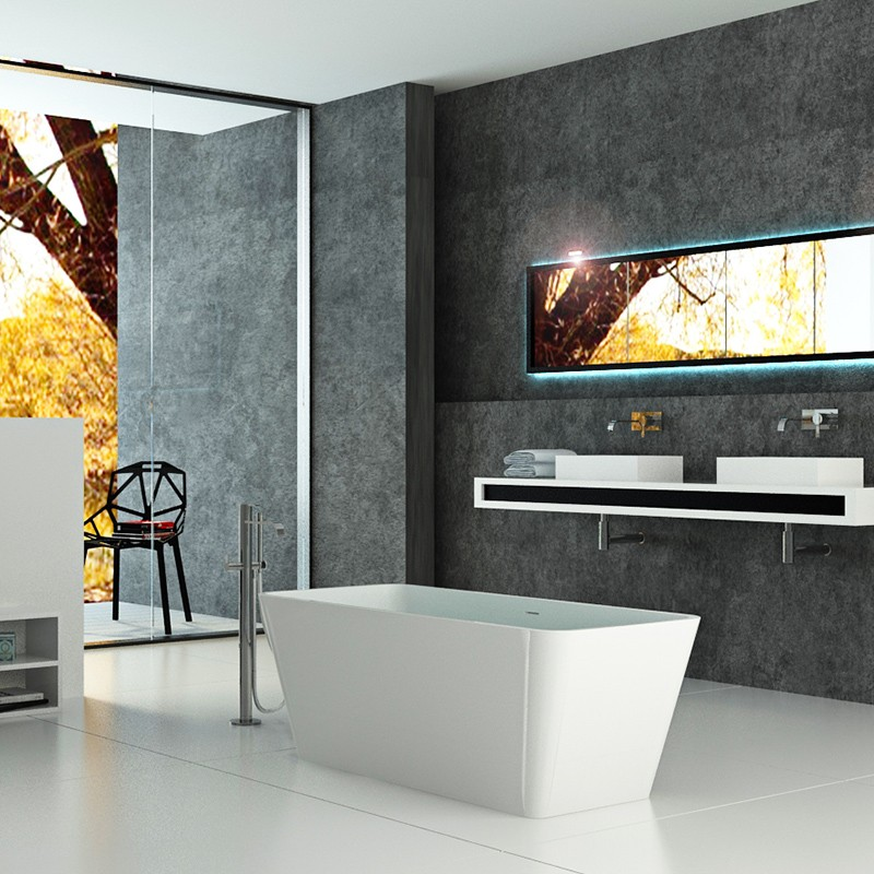 Bellissimo-Freestanding Resin Stone Cast Solid Surface Bathroom Bathtub-2
