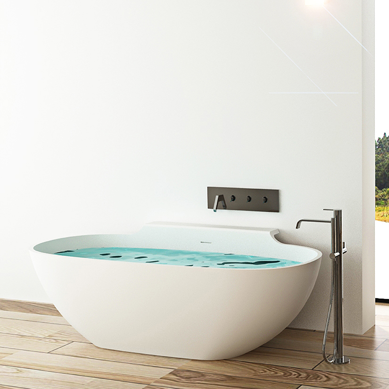Oval with Special skirt stone resin freestanding bathroom solid surface bathtub BS-8607