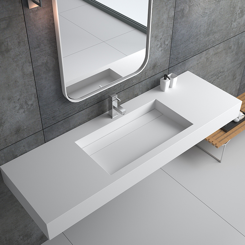 Rectangular long solid surface wall mounted hung stone resin bathroom sink BS-8422