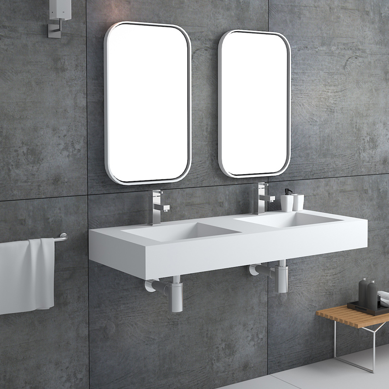 Double sink design solid surface wall hung mounted bathroom wash basin BS-8423
