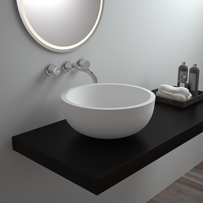 Bowl round bath solid surface resin stone countertop bathroom sink BS-8301