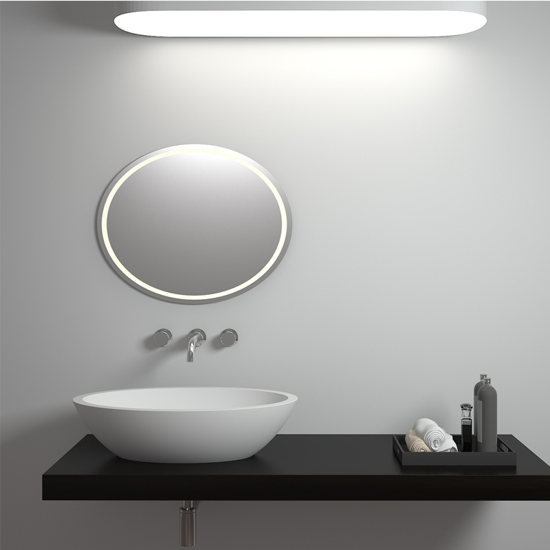 Oval shaped design solid surface counter top resin stone bathroom sink BS-8302