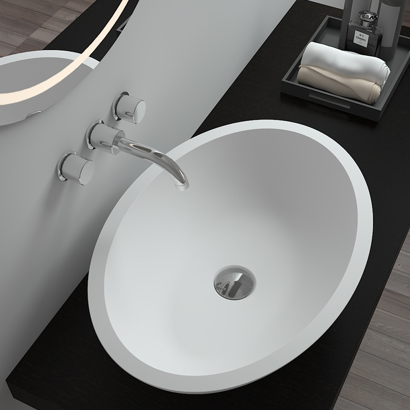 Bellissimo-Oval Shaped Solid Surface Counter Top Resin Stone Bathroom Sink