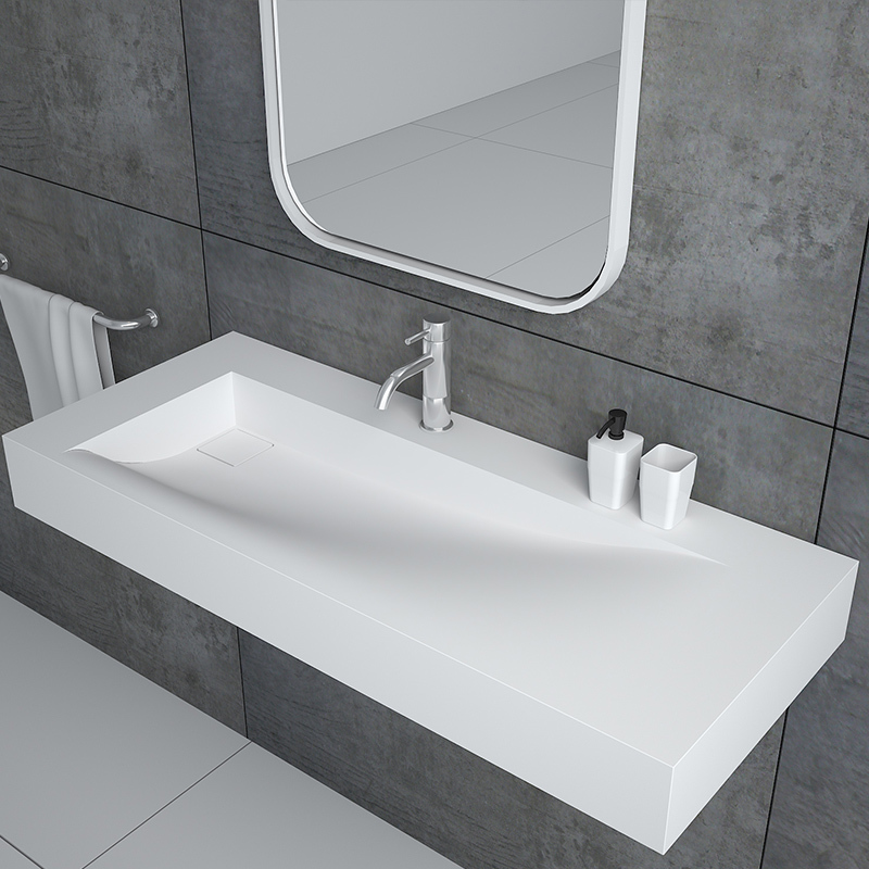 Rectangular wall hung mounted solid surface basin cast stone resin bathroom sink BS-8401