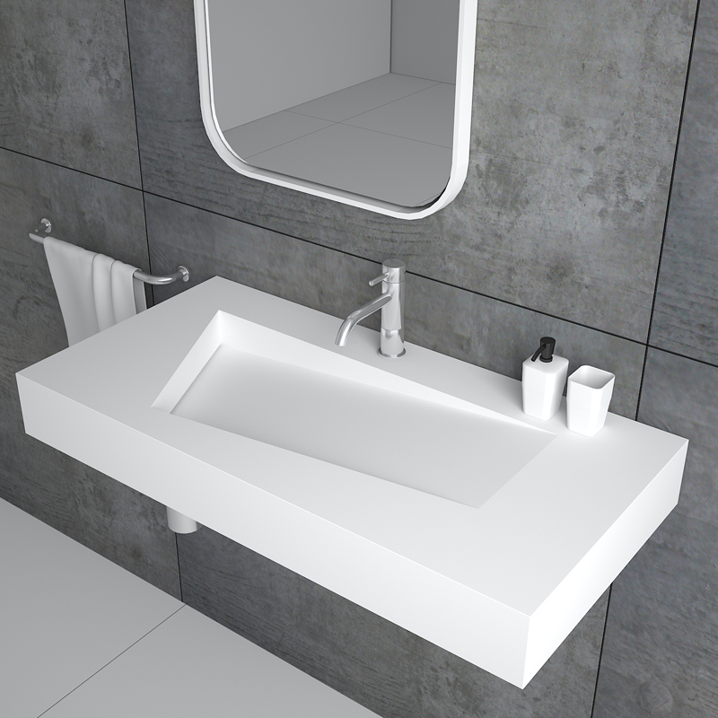 European style unique design floating wall hung mounted solid surface resin stone bathroom sink BS-8402