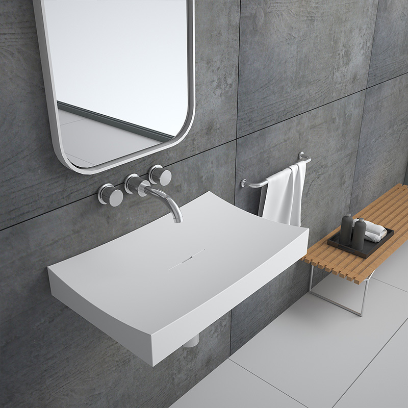 Luxury designer style floating wall hung mounted artificial stone resin solid surface bathroom wash basin sink BS-8403