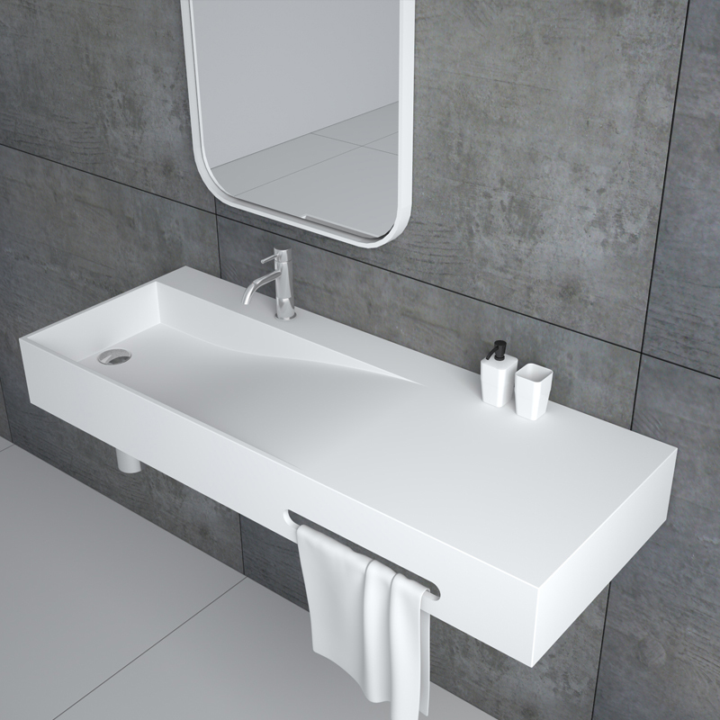 Rectangular shaped wall hung mounted wash basin with towel shelf  solid surface resin stone bathroom sink BS-8404