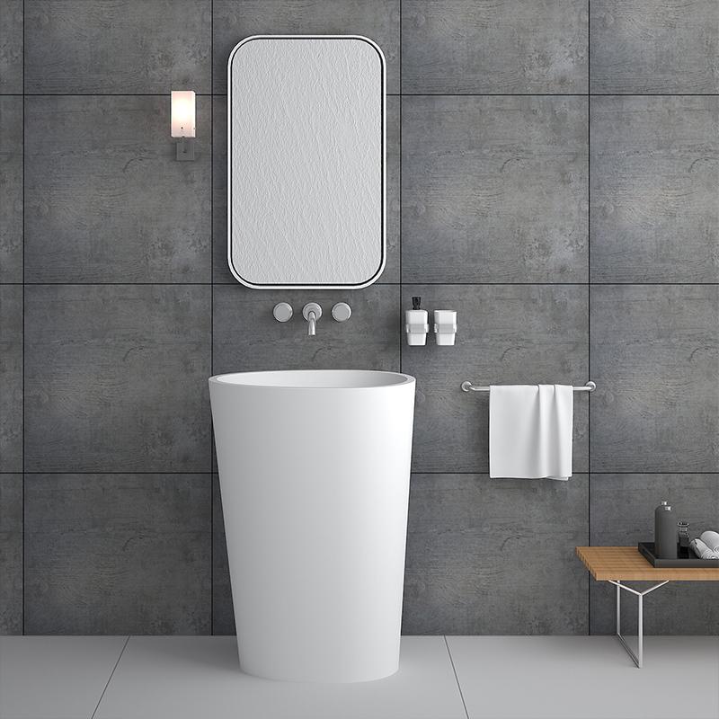 Oval shaped freestanding floor mounted wash basin solid surface bathroom sink BS-8501