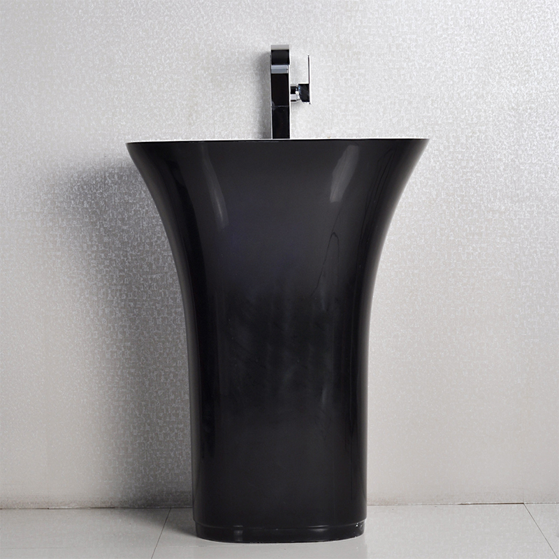Flat shaped black color freestanding wash basin pedestal solid surface stone bathroom sink BS-8502