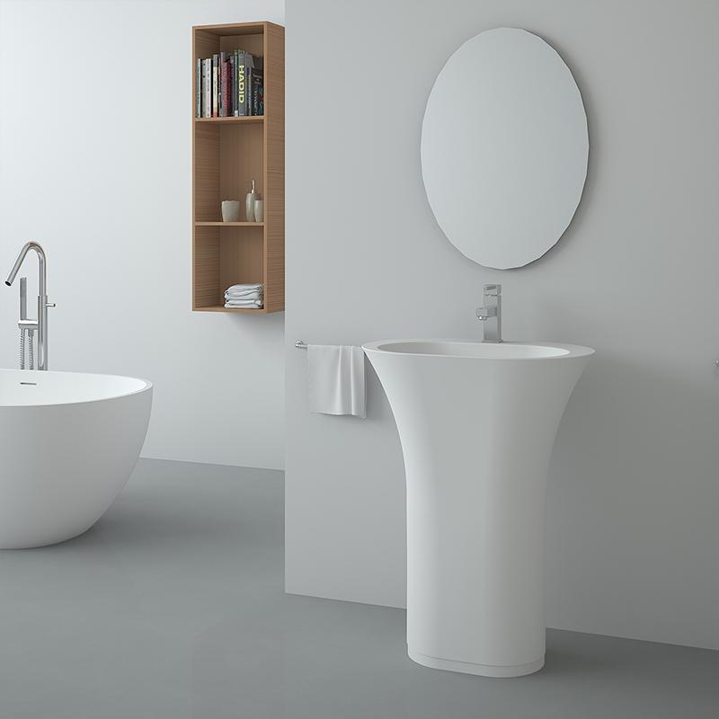 Flat shaped black color freestanding wash basin pedestal solid surface stone bathroom sink BS-8502
