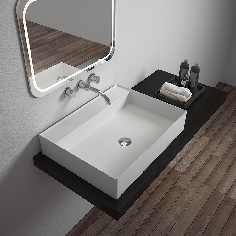 Solid surface resin stone counter top basin BS-8352
