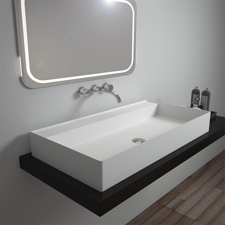 Rectangular wall hung mounted cabinet bathroom solid surface stone sink BS-8353