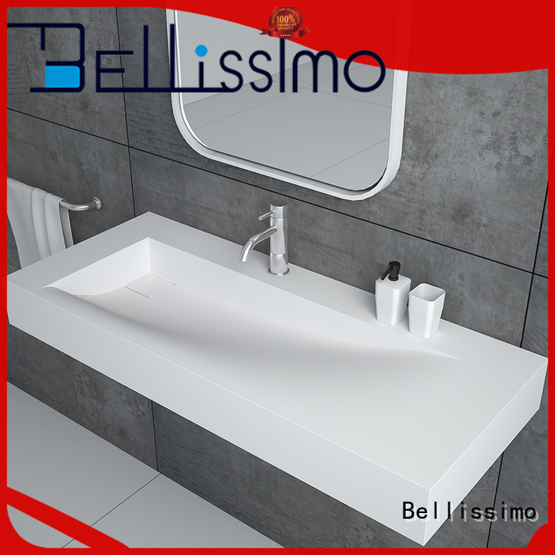 Bellissimo yacht shape rectangular wall mount sink customized for villa