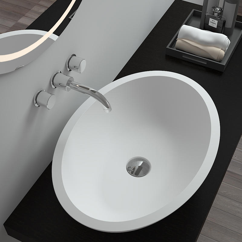 Bellissimo-High-quality Oval Shaped Design Solid Surface Counter Top Resin Stone Bathroom