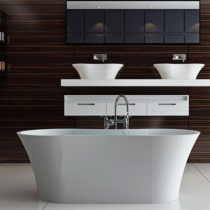 Bellissimo-Composite Stone Unique Arc Standalone Freestanding Solid Surface Bathroom-2