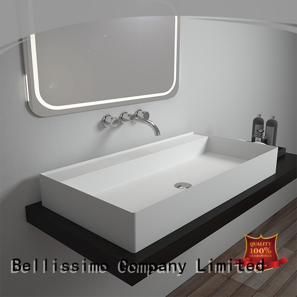 Bellissimo solid surface trough sink supplier for hotel
