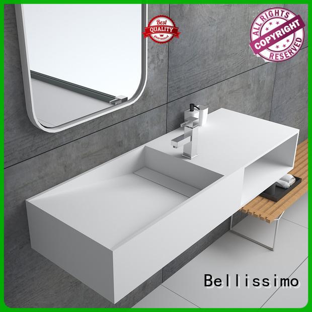 european stone basin with towel shelf for villa