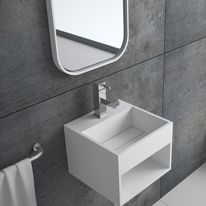Bellissimo-Solid Surface Resin Stone Wall Mounted Basin Bs-8414 | Solid Surface Wall