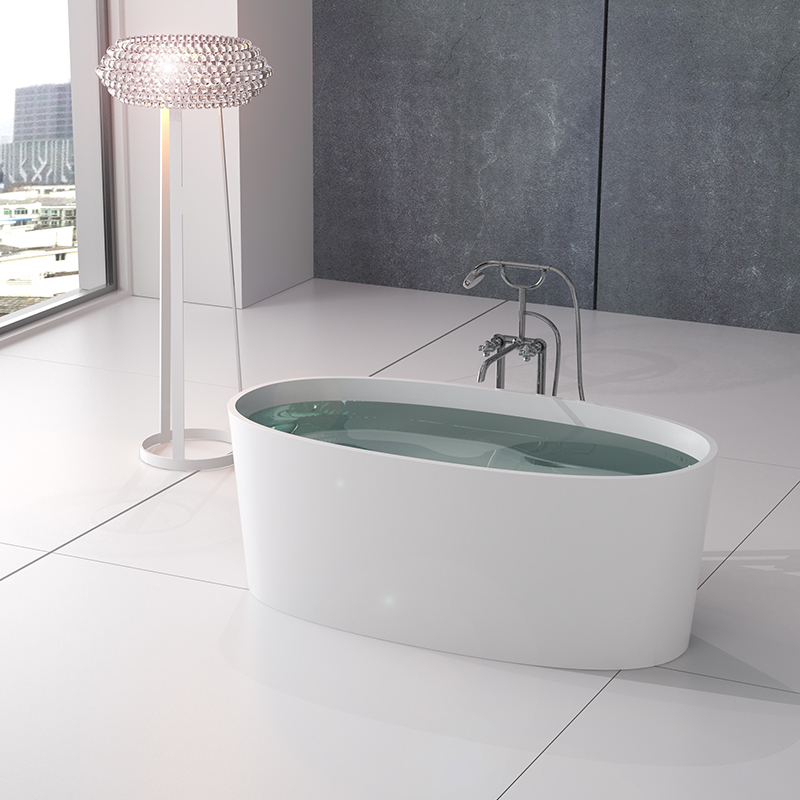 Stone cast resin oval shaped design solid surface floor mounted freestanding bathtub BS-8610