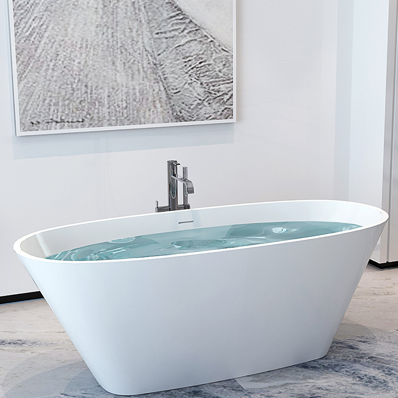Elegant artificial stone resin solid surface boat design freestanding floor mounted bathtub BS-8611