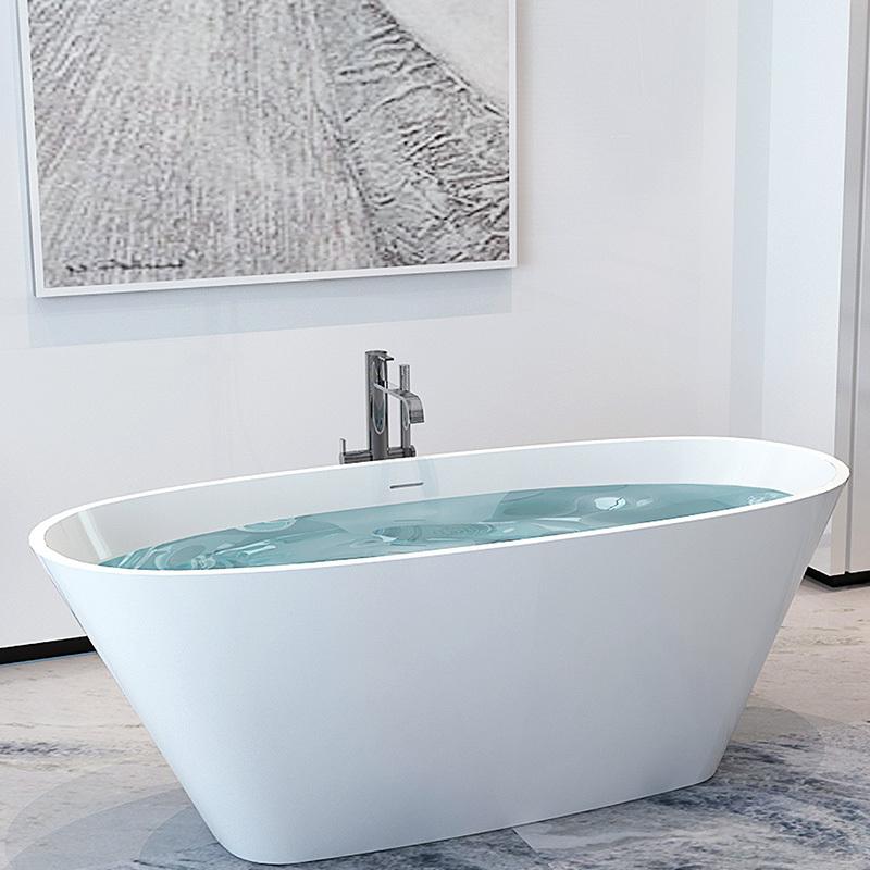 Elegant artificial stone resin solid surface boat design freestanding floor mounted bathtub BS-8611