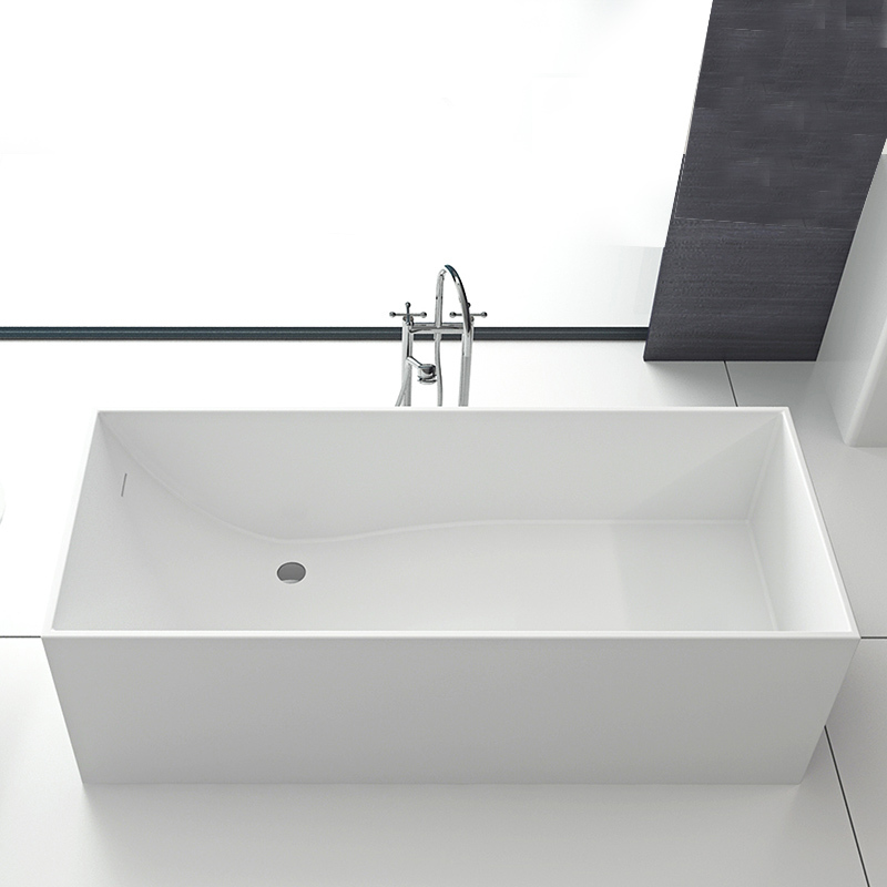 Rectangular inside wavy design comfortable stone cast resin freestanding stand alone solid surface bathtub BS-8617