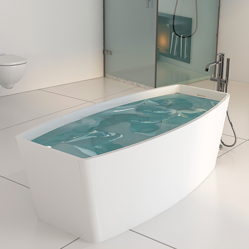 Curve edge shaped freestanding solid surface composite resin stone bathroom bathtub BS-8618