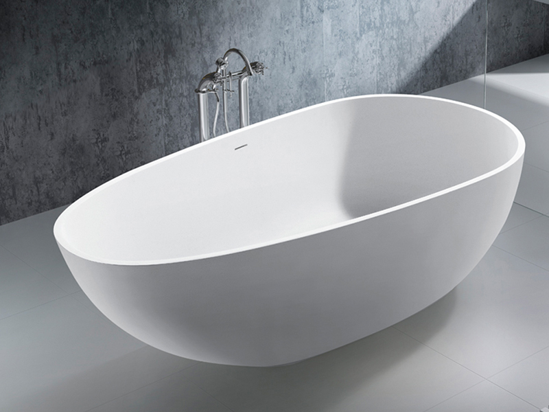 Oval style white color solid surface freestanding stone resin gelcoat bathroom BS-8608W product presentation