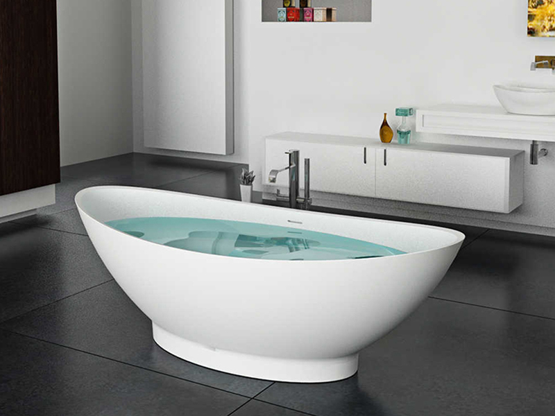 Ergonomic design freestanding solid surface stone cast resin 1880 mm bathroom bathtub BS-8609 product presentation-Bellissimo