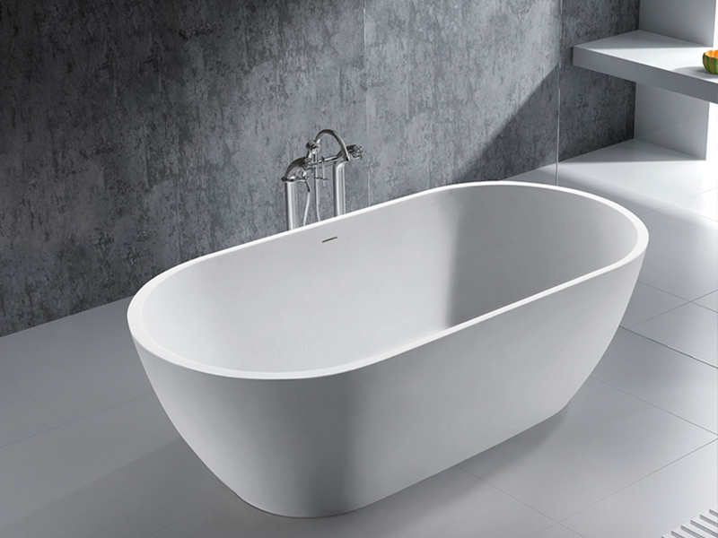 Oval shaped design floor mounted artifical stone cast resin bath solid surface bathtub BS-8612 product presentation-Bellissimo