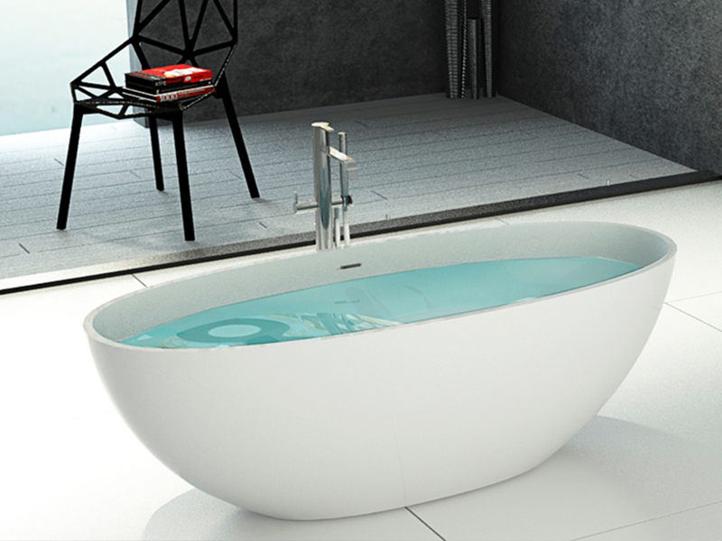 Hot product marble solid surface freestanding stone cast resin floor bathroom bathtub BS-8628 product presentation-Bellissimo