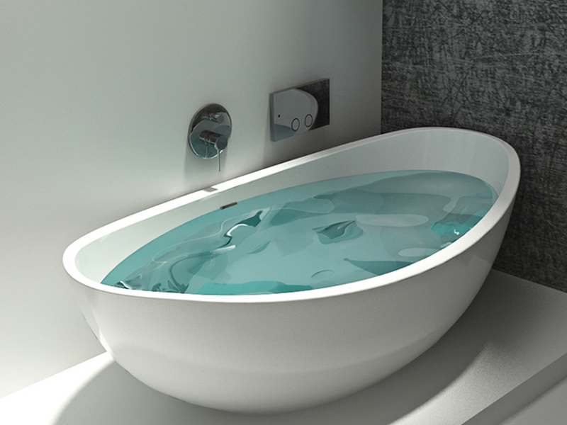 High standard freestanding solid surface standalone stone cast resin bathtub BS-8635 product presentation-Bellissimo