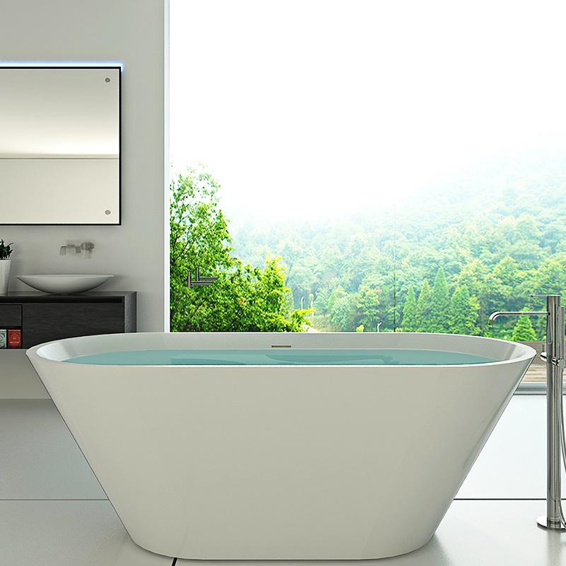 1800 mm Artificial stone Bathroom bath tube solid surface freestanding resin bathtub BS-8619