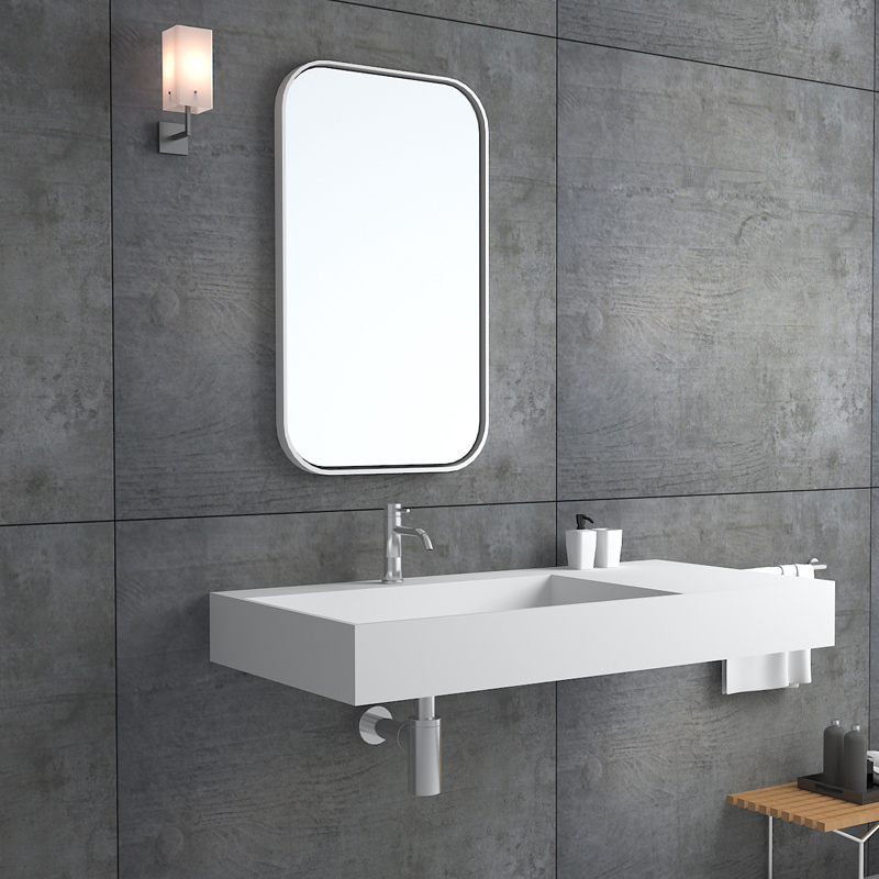 Rectangular design one body style solid surface stone wall hung mounted floating bathroom sink BS-8405