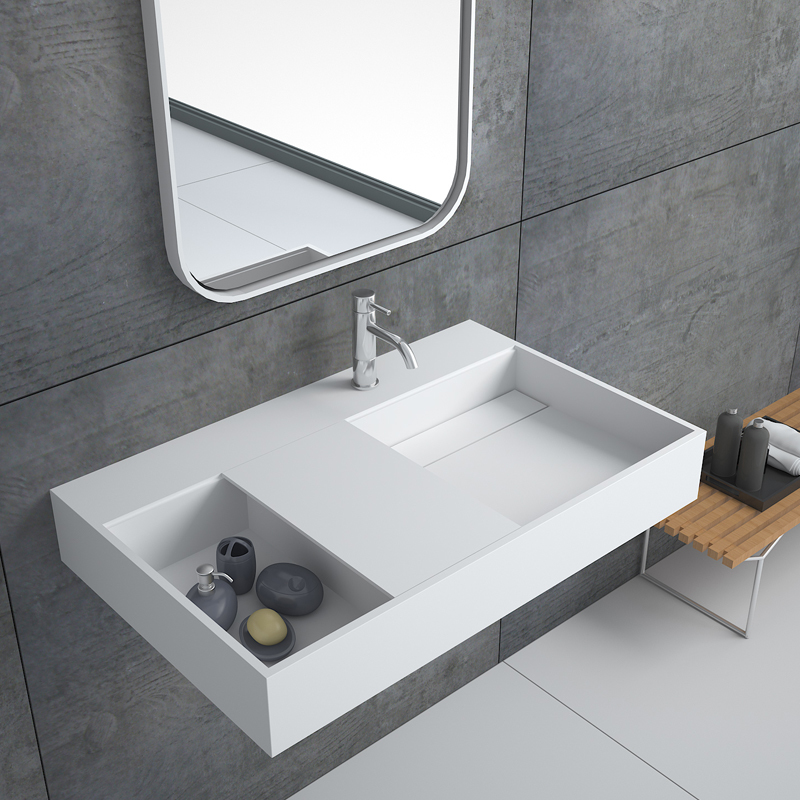 Rectangular wall hung mounted cabinet bathroom solid surface stone sink BS-8406