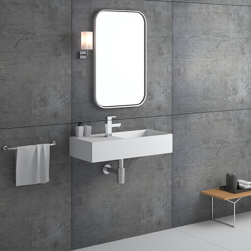 750 mm Hotel Wall hung mounted solid surface bathroom stone resin sink BS-8410