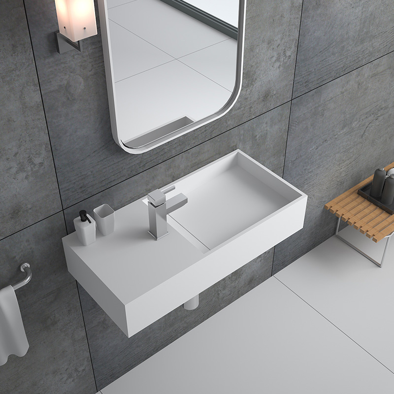 Bellissimo-750 Mm Hotel Wall Hung Mounted Solid Surface Bathroom Stone Sink
