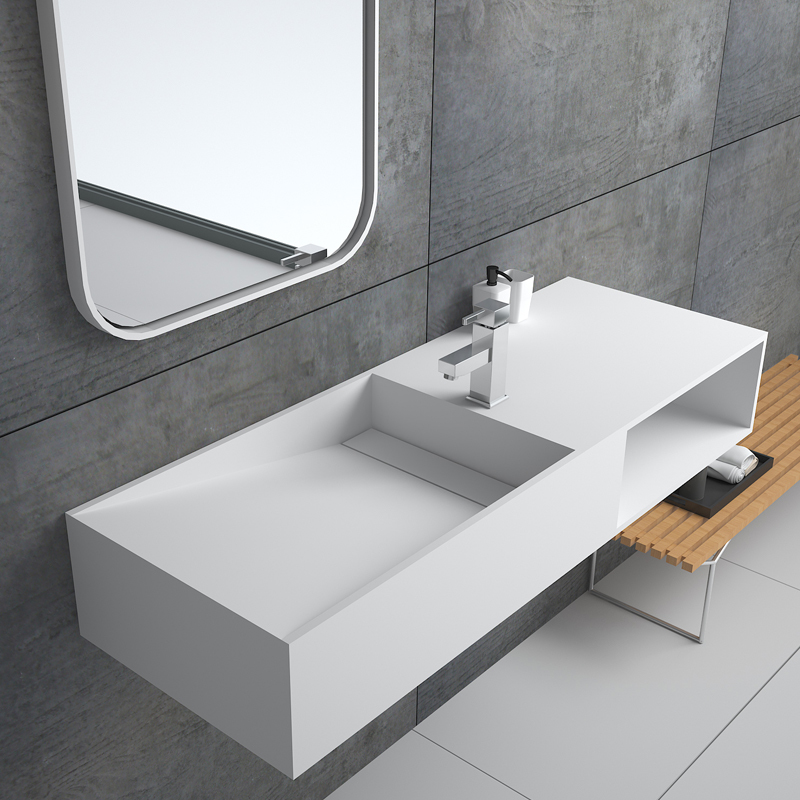 Custom style Floating bathroom wall hung mounted cabinet stone resin basin solid surface sink BS-8411