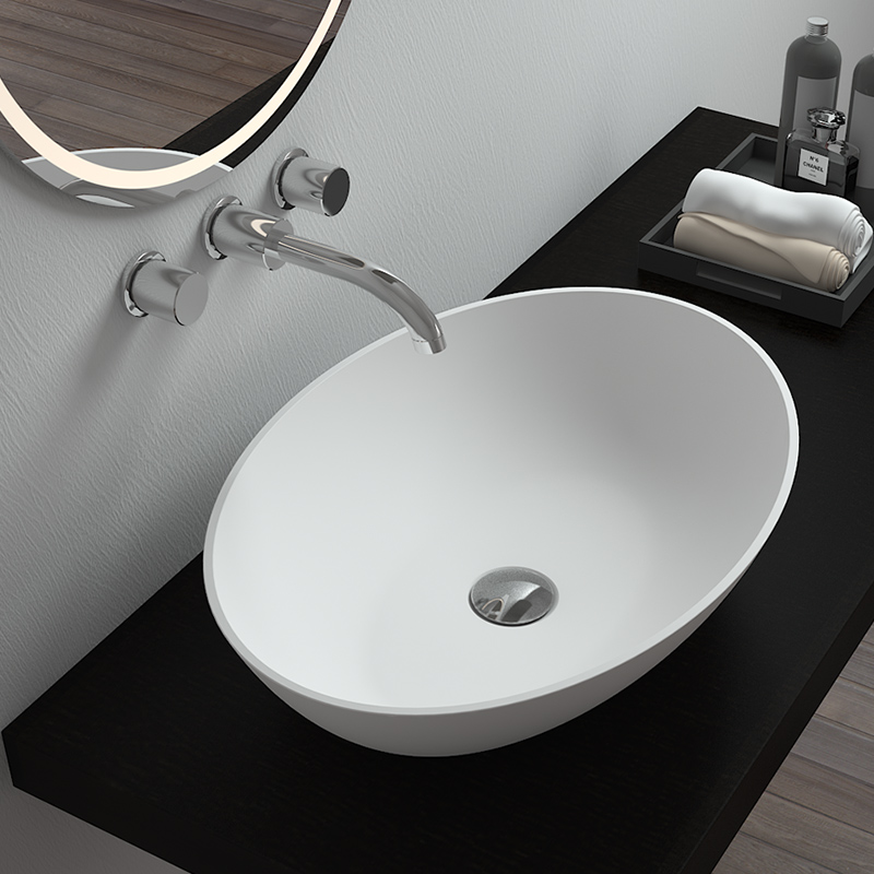 Bellissimo-Counter Top Bathroom Egg Shaped Solid Surface Stone Cast Basin