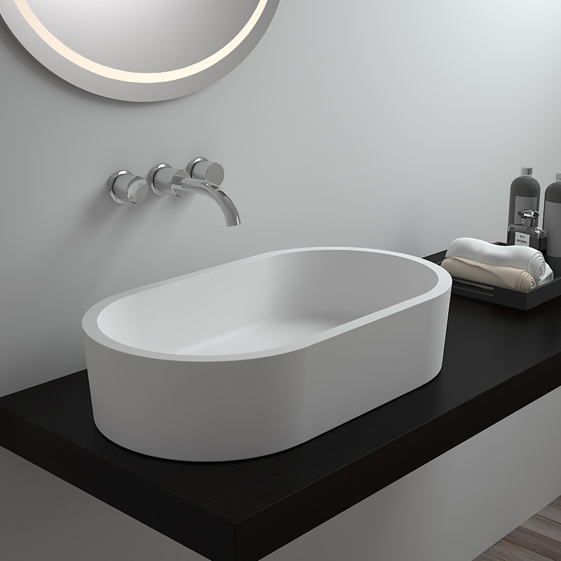 Artificial stone bathroom counter top oval rectangular solid surface sink BS-8303