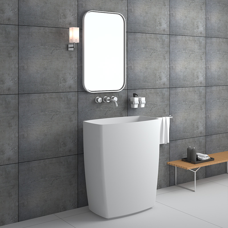 Big size unique design solid surface bathroom stone cast resin freestanding sink BS-8503