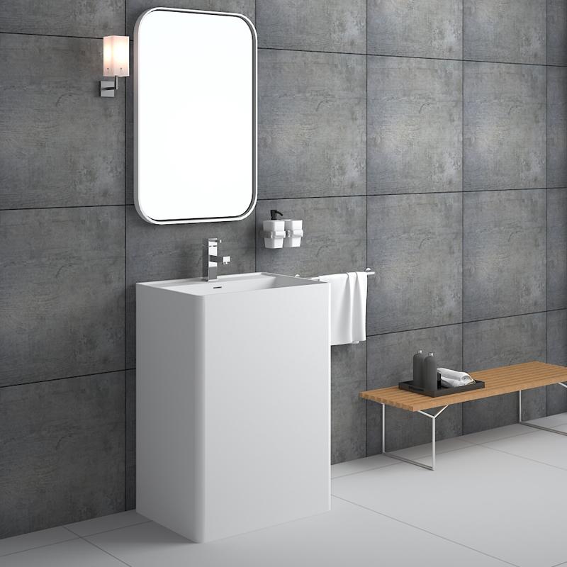 Rectangular shaped commercial design bathroom freestanding solid surface basin pedestal sink BS-8504