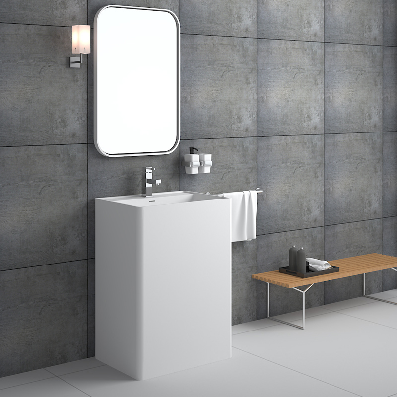 Rectangular shaped commercial design bathroom freestanding solid surface basin pedestal sink BS-8504