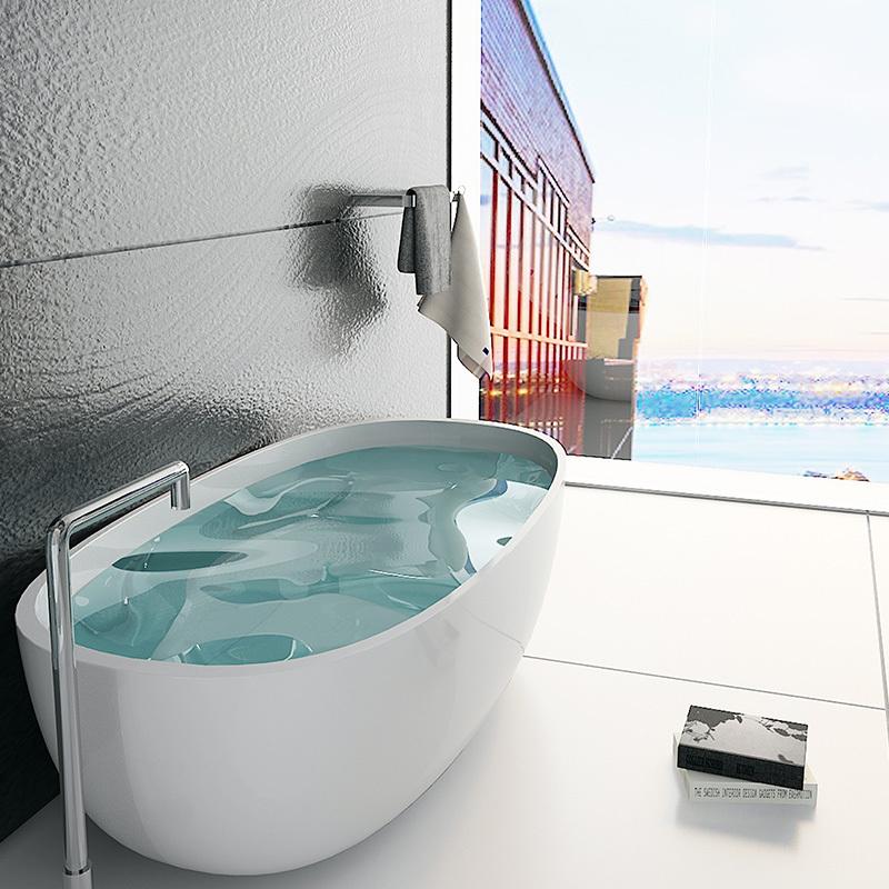 Large size hotel bathroom bath Solid surface resin stone bathtub BS-8621