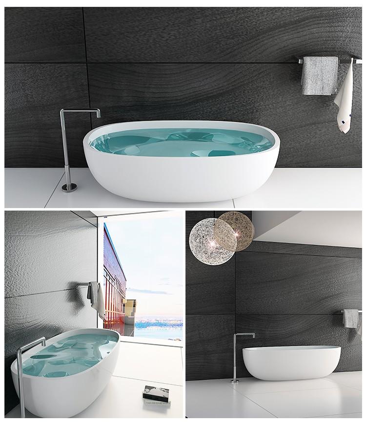 Bellissimo-Large size hotel bathroom bath Solid surface resin stone bathtub-2