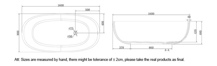 Bellissimo-Large size hotel bathroom bath Solid surface resin stone bathtub-3