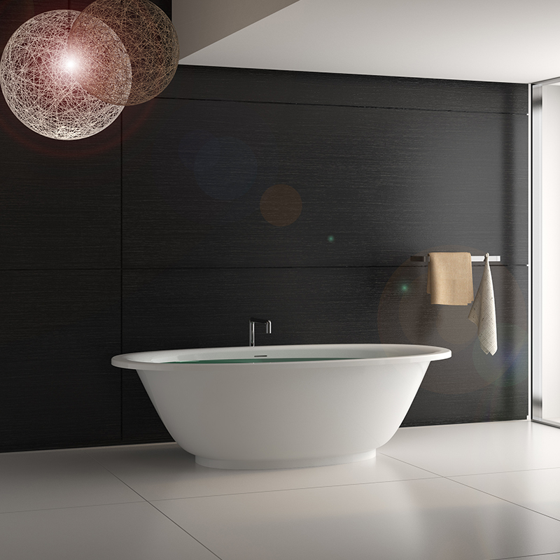Wide edge common style bathroom Solid surface resin stone bathtub BS-8622