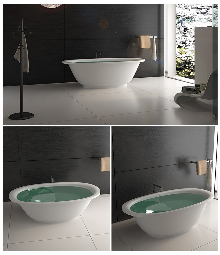 Bellissimo-Wide edge common style bathroom Solid surface resin stone bathtub-2