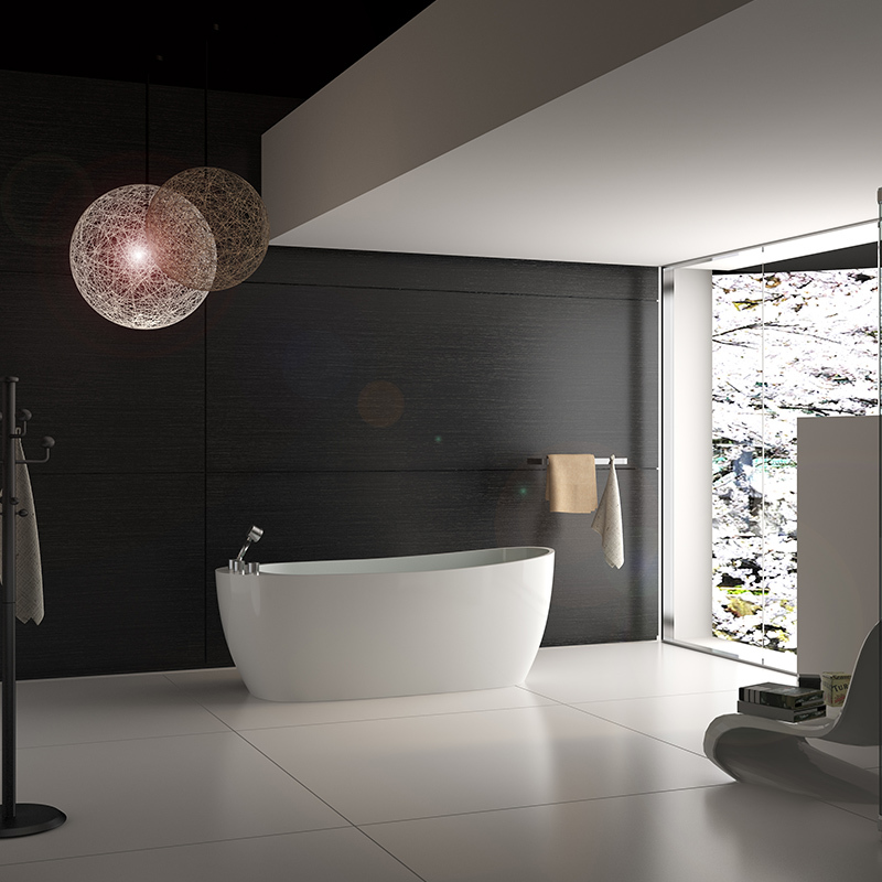 Freestanding soaking standalone Solid surface resin stone bathtub with faucet BS-8623