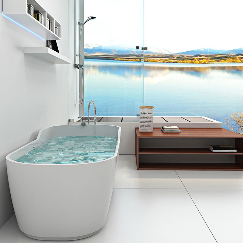 Unique side artificial marble Solid surface bathroom tub resin stone bathtub BS-8625